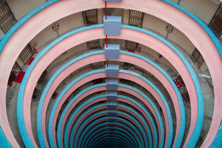 Pink & Blue Spiral - Limited Edition of 10 - Photography,  39.4x59.1x0.2 in, ©2018 by Serge Horta -                                                                                                                                                                                                                                                                                                                                                                                                                                                                                                                                                                                                                                                                                                                                                                                                                                                                                                                                                                                                                                                                                                                                                                                      Geometric, geometric-572, Abstract Art, Architecture, Colors, Geometric, Patterns, pastel, abstract, architecture, surreal, building, circles, rings, colour, color, geometry, geometric, pattern, pink, blue, photography, interior, light, lines