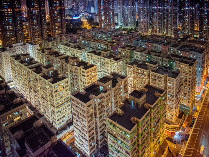 Kowloon - Limited Edition of 25 - Photography,  17.7x23.6x0.2 in, ©2020 by Serge Horta -                                                                                                                                                                                                                                                                                                                                                                                                                                                                                                                                                                                                                                                                                                                                                                                                                                                                                                                                                                                                                                                                                                                                                                                                                                                                              Street Art, street-art-624, Aerial, Architecture, Cities, Cityscape, Travel, architecture, abstract, aerial, cityscape, skyline, cities, night, lights, surreal, buildings, skyscraper, street, photography, bright, hong kong, china, colour, color, colourful, documentary