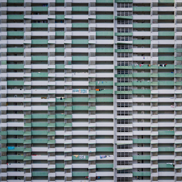 Vertical Domino - Signed Limited Edition - Photography,  7.9x7.9x0.2 in, ©2020 by Serge Horta -                                                                                                                                                                                                                                                                                                                                                                                                                                                                                                                                                                                                                                                                                                                                                                                                                                                                                                                                                                                                                                                                                                                                                                                                                                                                              Abstract, abstract-570, Abstract Art, Architecture, Cityscape, Geometric, Patterns, architecture, building, green, pattern, symmetrical, hong kong, skyscraper, photography, geometry, pastel, colourful, cities, skyline, square, print, facade, lines, wall art, interior design, modern