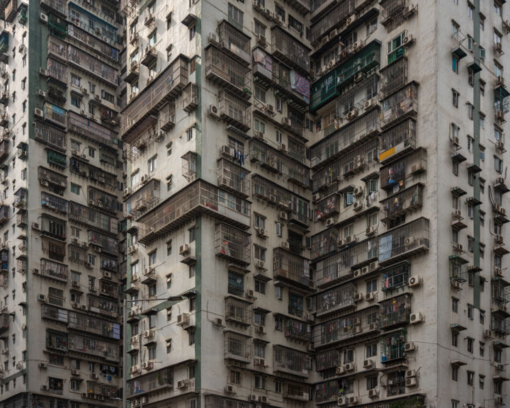 Controlled Chaos - Signed Limited Edition - Photography,  37.8x47.2x0.2 in, ©2019 by Serge Horta -                                                                                                                                                                                                                                                                                                                                                                                                                                                                                                                                                                                                                                                                                                                                                                                                                                                                                                                                                                                                                                                                                              Geometric, geometric-572, Architecture, architecture, abstract, photography, geometric, surreal, buildings, skyscrapers, asia, hong kong, colour, colorful, pattern, decay, amazing, beautiful, print, china, glicee, pastel, large