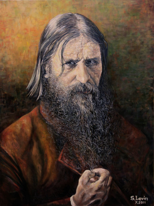 Grigori Rasputin - Painting,  23.6x1.2x31.5 in, ©2012 by Sergey Levin -                                                                                                                                                                                                                                                                                                                                                                                                          Figurative, figurative-594, Portraits, classic style, historical portrait, oil on canvas, the magical object, object has the property of the desires of sexual