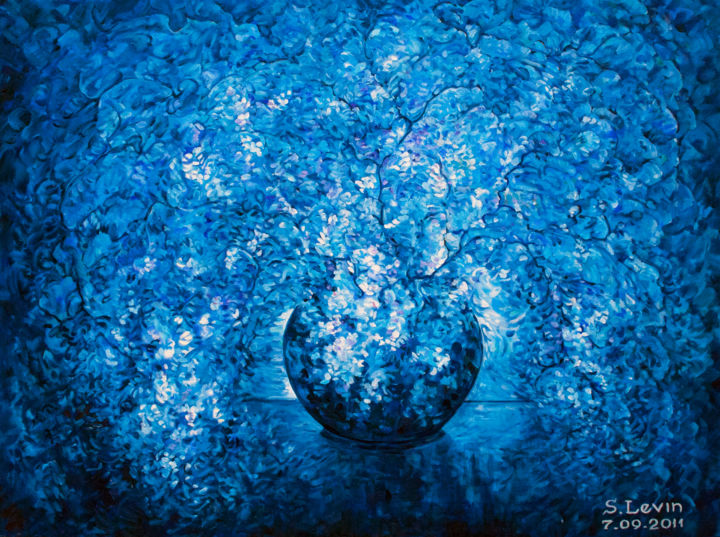 flowers - Painting,  1.2x31.5x23.6 in, ©2012 by Sergey Levin -                                                                                                                                                                                                                                                                                                                                                              Conceptual Art, conceptual-art-579, Still life, steel-life, blue, fantasy, flowers