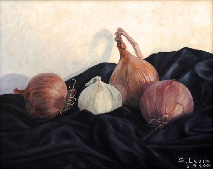 onion on black velvet - Painting,  1.2x15.8x19.7 in, ©2012 by Sergey Levin -                                                                                                                                                                                                                                                                                                                                                              Hyperrealism, hyperrealism-612, Still life, still-life, onion, black velvet, oil on canvas
