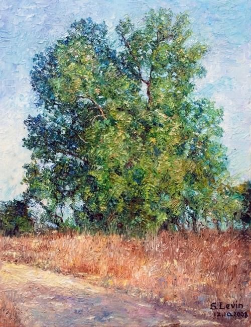 tree - Painting,  17.7x1.2x13.8 in, ©2012 by Sergey Levin -                                                                                                                                                                                                                                                                                                                                                              Impressionism, impressionism-603, Landscape, landscape, tree, afternoon, oil on canvas