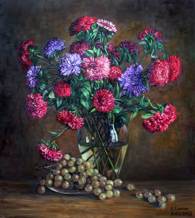still life, red asters - Painting,  31.5x1.2x35.4 in, ©2013 by Sergey Levin -                                                                                                                                                                                                                                                                                                                                                                                                                                                      Classicism, classicism-933, Still life, still life, flowers, grapes, red asters, purple asters, oil on canvas