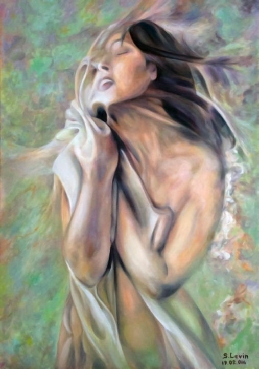 Womаn in onix - Painting,  27.6x1.2x39.4 in, ©2014 by Sergey Levin -                                                                                                                                                                                                                                                  Nude, woman, onyx, symbolism, oil on canvas