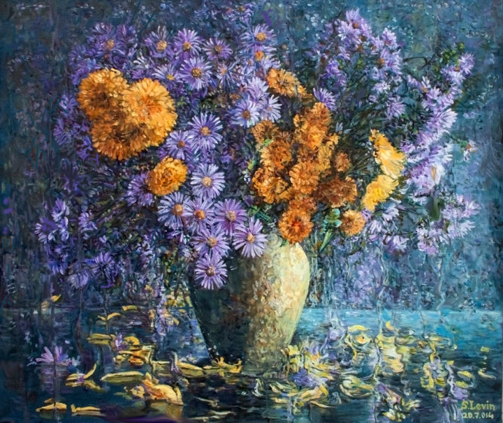 autumn flowers - Painting,  1.2x27.6x23.6 in, ©2014 by Sergey Levin -                                                                                                                                                                                                                                                                      Impressionism, impressionism-603, Flower, flowers, still life