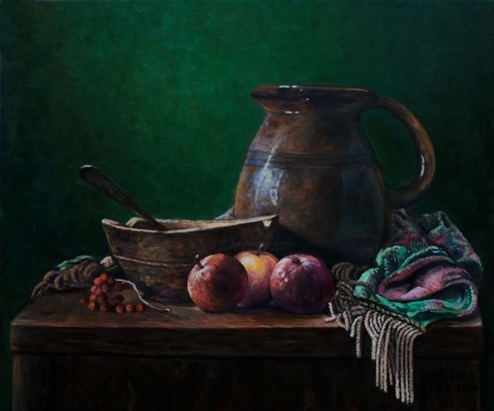 classic still life - Painting,  0.8x23.6x19.7 in, ©2014 by Sergey Levin -                                                                                                                                                                                                                                                                                                                                                                                                          Classicism, classicism-933, Still life, still life, classic, rustic style, ceramics, green background