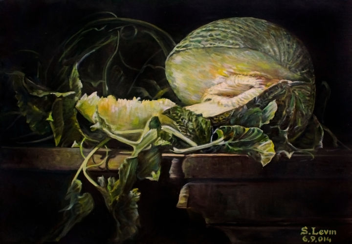 melon - Painting,  0.8x13.8x19.7 in, ©2014 by Sergey Levin -                                                                                                                                                                                                                                                                                                                  Classicism, classicism-933, Still life, still-life, vegetables, melon