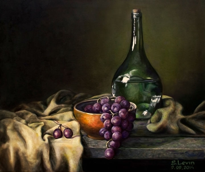 classic still life - Painting,  0.8x19.7x23.6 in, ©2014 by Sergey Levin -                                                                                                                                                                                                                                                                                                                                                                                                          Classicism, classicism-933, Still life, still life, classic, glass, velvet, dark background