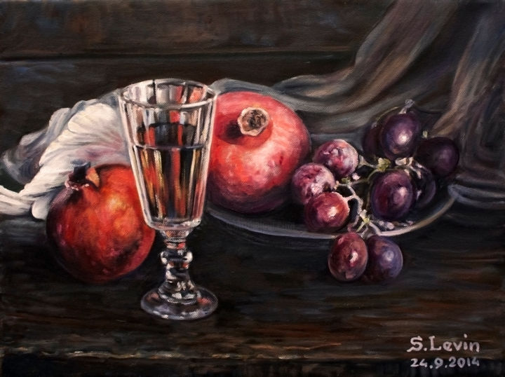 still life with pomegranates and grapes - Painting,  1.2x11.8x15.8 in, ©2014 by Sergey Levin -                                                                                                                                                                                                                                                                                                                  Figurative, figurative-594, Still life, still life, pomegranates, grapes