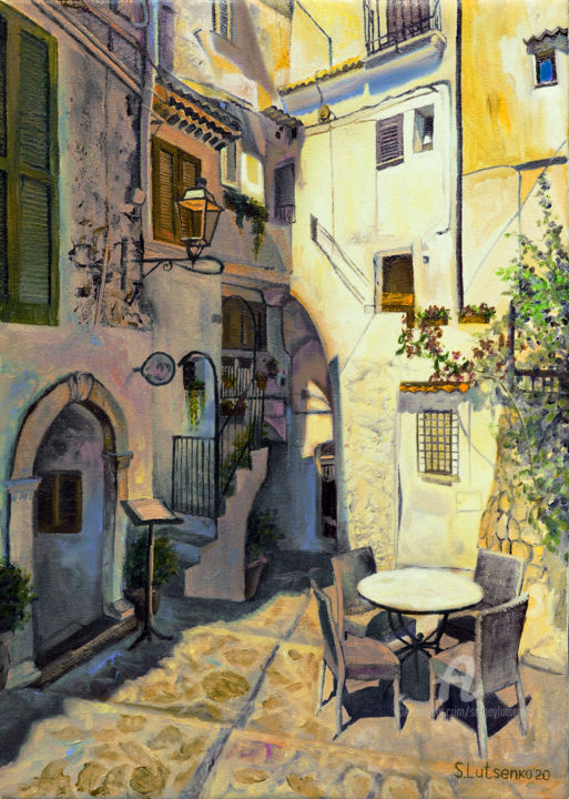 Summer Sun - Painting,  17.7x4.3x4.3 in, ©2020 by Sergey Lutsenko -                                                                                                                                                                                                                                                                                                                                                          Hyperrealism, hyperrealism-612, Seasons, Cities, Cityscape, Places, Light