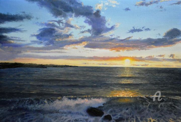 Paints of the sunset - Peinture,  15,8x23,6x0,8 in, ©2014 par Sergey Lutsenko -                                                                                                                                                                                                                                                                                                                                                                                                                                                                                                                                                                                                                                                                                  Figurative, figurative-594, Paysage marin, Eau, Saisons, Sunset, Sea, Waves, Evening, Summer, Nature, seascape, realism, SergeyLutsenko