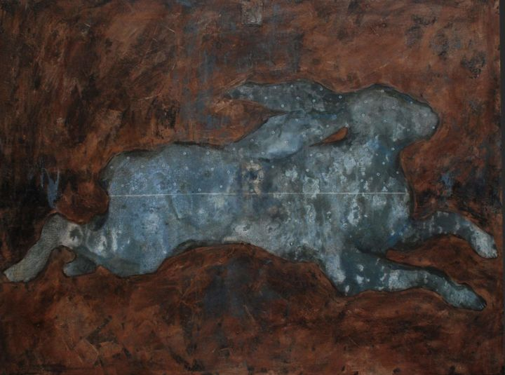 """""""From Chaos. Animal 4"""" - Painting,  23.6x31.5x0.7 in, ©2019 by Marina Shavyrina-Shkoliar -                                                                                                                                                                                                                                                                                                                                                                                                                                                                                                                                                                                          Figurative, figurative-594, Animals, animal, hare, rabbit, brown, grey, abstract, modernart, interior painting, abstract art"""