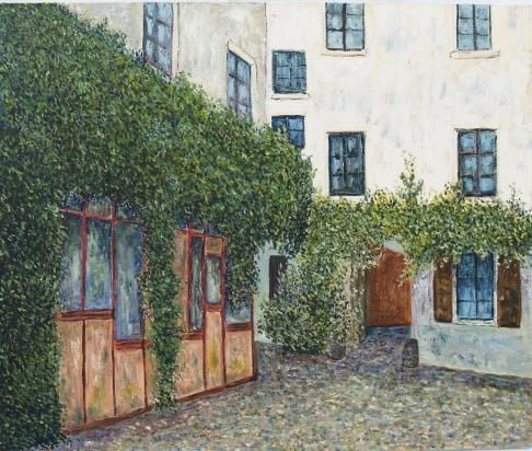 PASSAGE L'HOMME PARIS - Painting,  55x46 cm ©2004 by Jean-Marc Serieys -                        Figurative Art