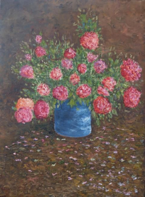 Roses sur la table - Painting,  16.1x13 in, ©2005 by Jean-Marc Serieys -                                                                                                                                                                          Figurative, figurative-594, fleurs roses huile