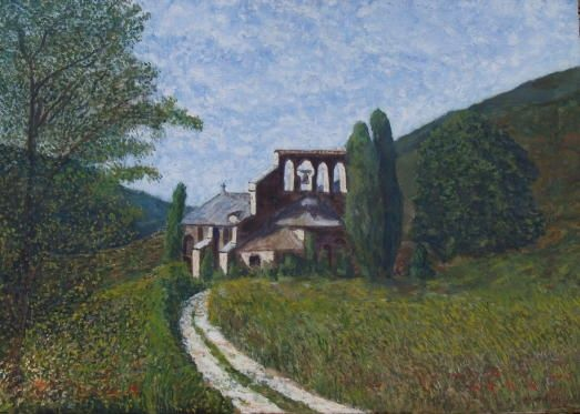 NOTRE DAME DES CHAMPS - Painting,  19.7x24 in, ©1988 by Jean-Marc Serieys -                                                                                                                          Figurative, figurative-594