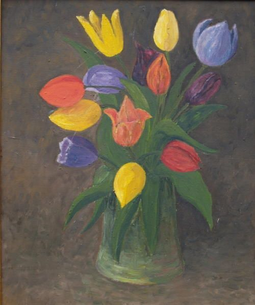 TULIPES - Painting,  18.1x15 in, ©1991 by Jean-Marc Serieys -                                                                                                                          Figurative, figurative-594