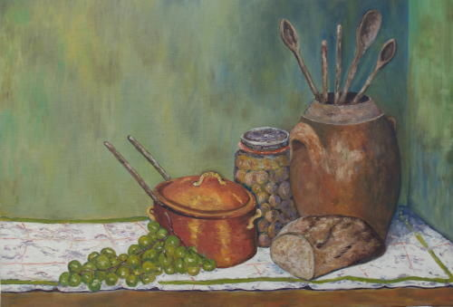 nature morte aux raisins - Painting,  18.1x21.7 in, ©2005 by Jean-Marc Serieys -                                                                                                                          Figurative, figurative-594