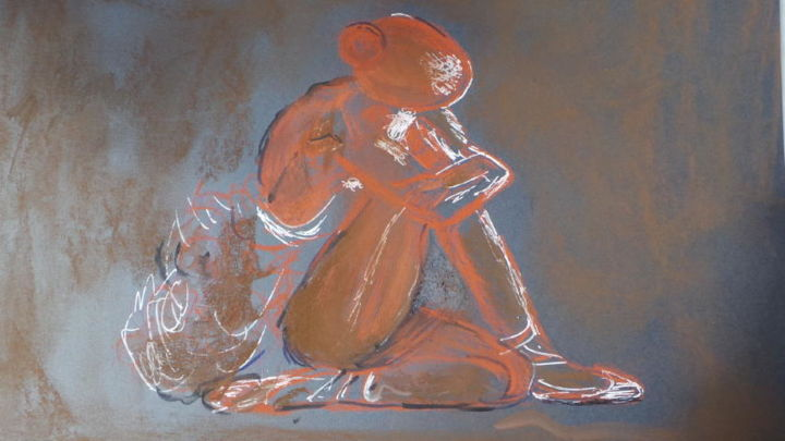 20140516-110837-3.jpg - Drawing,  34x24 cm ©2014 by Jean-Marc Serieys -                                                                                    Figurative Art, Paper, Body, Women, Portraits, dance, repos, dessin, portrait, femme, danceuse