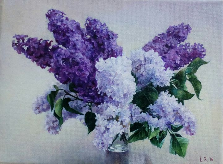 Lilac - Painting,  7.1x9.5 in, ©2016 by Elizaveta Khudyakova -                                                                                                                                                                                                                                                                                                                                                                                                                                                      Hyperrealism, hyperrealism-612, Flower, lilac, still life, flowers, bouquet, spring flowers, oil painting