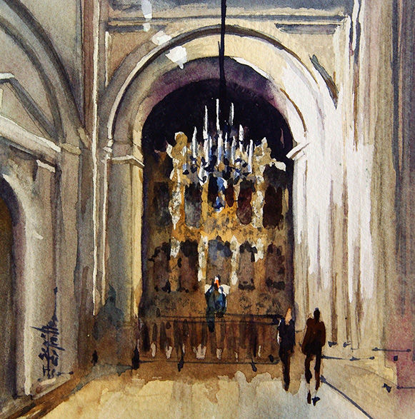 aquarelle I Seruch Capouillez Cathedrale Mexico 2 - Painting,  5.1x5.1 in, ©2017 by Isabelle Seruch Capouillez -                                                                                                                                                                                                                          Figurative, figurative-594, Cityscape, edifice religieux