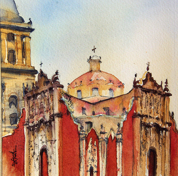 aquarelle I Seruch Capouillez Cathedrale Mexico 3 - Painting,  5.1x5.1 in, ©2017 by Isabelle Seruch Capouillez -                                                                                                                                                                                                                          Figurative, figurative-594, Cityscape, edifice religieux