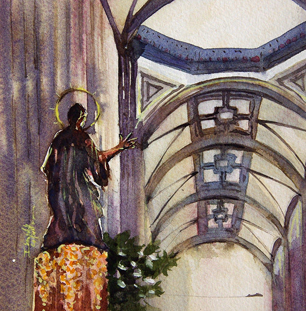 aquarelle I Seruch Capouillez Cathedrale Mexico 4 - Painting,  5.1x5.1 in, ©2017 by Isabelle Seruch Capouillez -                                                                                                                                                                                                                          Figurative, figurative-594, Cityscape, edifice religieux