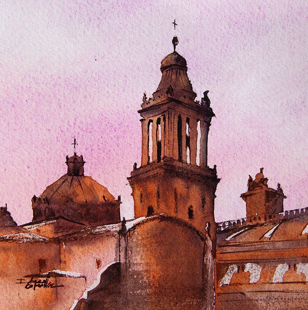 aquarelle I Seruch Capouillez Cathedrale Mexico 6 - Painting,  5.1x5.1 in, ©2017 by Isabelle Seruch Capouillez -                                                                                                                                                                                                                          Figurative, figurative-594, Cityscape, edifice religieux
