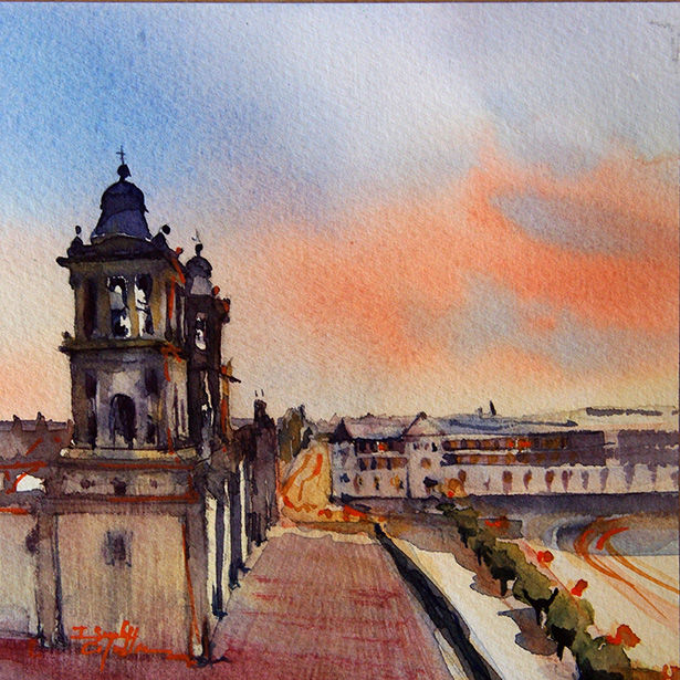 aquarelle I Seruch Capouillez Cathedrale Mexico 10 - Painting,  5.1x5.1 in, ©2017 by Isabelle Seruch Capouillez -                                                                                                                                                                                                                          Figurative, figurative-594, Cityscape, edifice religieux