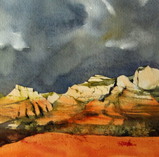 isabelle-seruch-capouillez-13x13-f1-11-sedona - Painting,  13x13 cm ©2018 by Isabelle Seruch Capouillez -                                                                        Figurative Art, Paper, Landscape, Mountainscape, Landscape Arizona Sedona, Hopi, Amérindien, Vortex, Watercolor