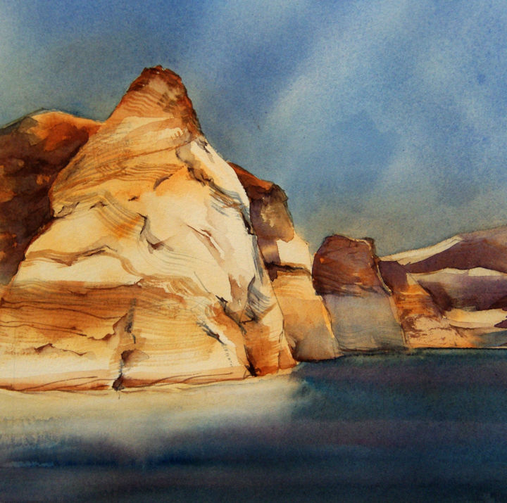 19x19-f2-14 - Painting,  7.5x7.5 in, ©2019 by Isabelle Seruch Capouillez -                                                                                                                                                                                                                                                                      Figurative, figurative-594, Mountainscape, Sedona Arizona, Lake powell