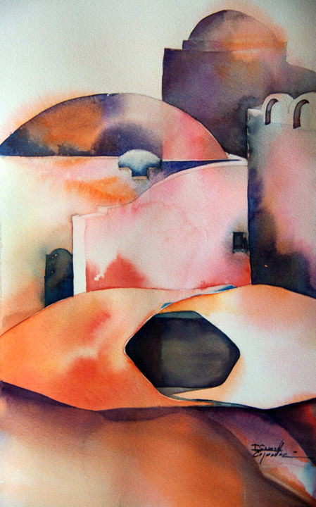 babouche pause - Painting,  15x9.1 in, ©2014 by Isabelle Seruch Capouillez -                                                              aquarelle orientalisme