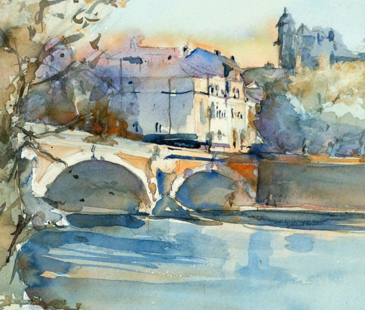 N°3 Toulouse Garonne et Pont Neuf - Painting,  11.8x15.8 in, ©2015 by Isabelle Seruch Capouillez -                                                                                                                                                                                                                                                                                                                  Figurative, figurative-594, Places, Toulouse, Pont Neuf, Garonne