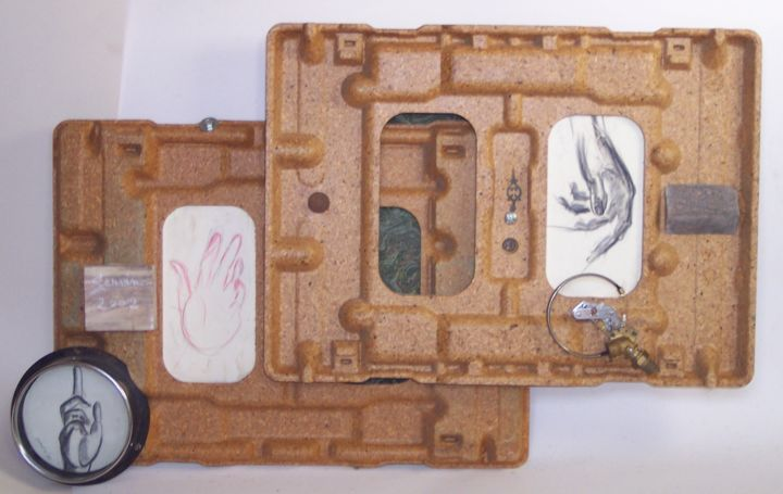 ASSEMBLAGE N°2 (2002) - Sculpture,  26.4x41.3x3.9 in, ©2002 by SERVIN -                                                                                                                                                                                                                                                                                                                  Conceptual Art, conceptual-art-579, Architecture, Body, main, assemblage