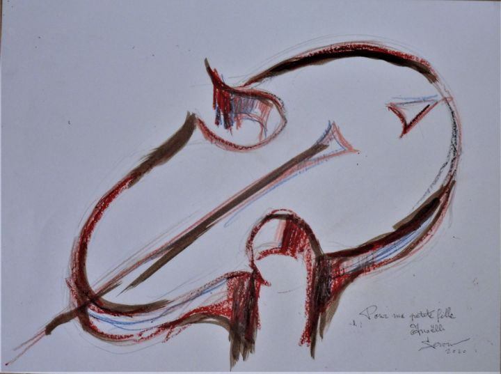 violon surréaliste pour Anaëlle - Drawing,  11.8x15.8 in, ©2020 by SERVIN -                                                                                                                                                                                                                                                                                                                                                                                                                                                                                                                                                                                          Surrealism, surrealism-627, Music, musique, violon, celo, violoncelle, rouge, contrebasse, surréaliste, art moderne, art contemporain
