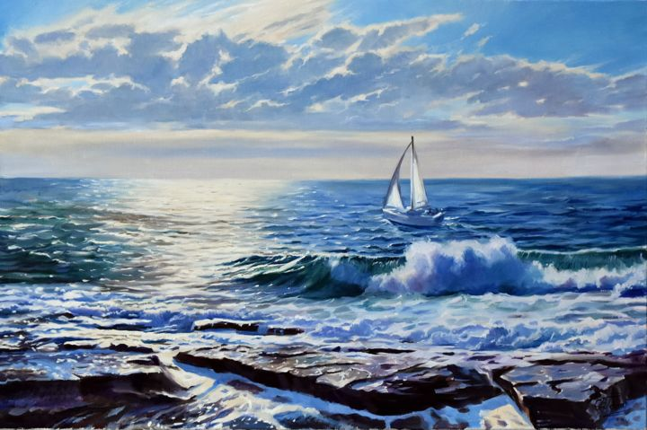 On the way to the sun - © 2019 sea, seascape, ocean, waves, yacht Opere d'arte online