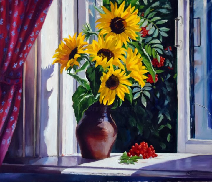 The window to the summer - Pittura,  23,6x27,6x0,8 in, ©2019 da Serghio Ghetiu -                                                                                                                                                                                                                                                                                                                                                                                                                                                                                                  Figurative, figurative-594, Fiore, Stagioni, Natura morta, flowers, sunflowers, vase, still life, summer