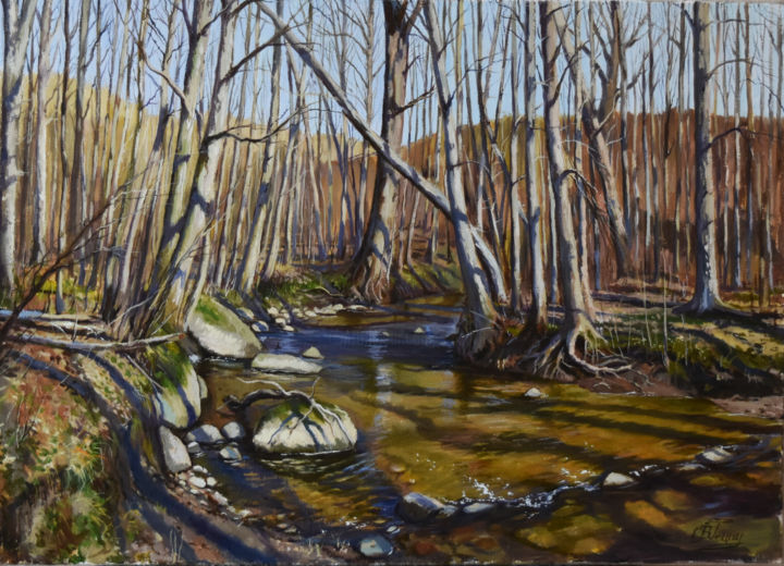 Forest river in early spring - Painting,  50x70x1.5 cm ©2019 by Serghio Ghetiu -                                                        Realism, Seasons, Landscape, forest, river, spring, landscape
