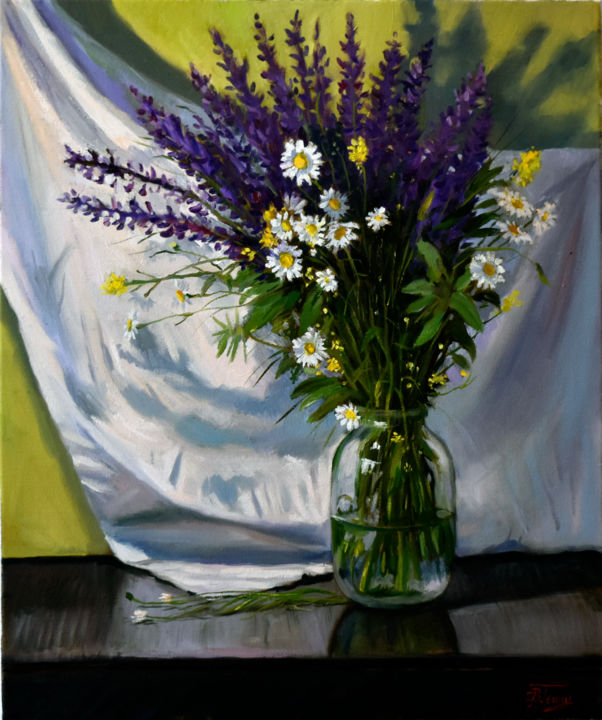 Bouquet of field flowers - Painting,  60x50x2 cm ©2019 by Serghio Ghetiu -                                                        Impressionism, Flower, Still life, vase, stillife, flowers