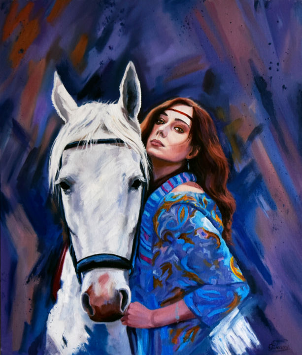The gypsy woman with a horse - © 2019 woman, gypsy, horse, animal, portraits Œuvres-d'art en ligne
