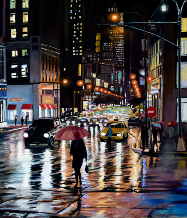 A rainy evening in New York - Painting,  70x60x2 cm ©2019 by Serghio Ghetiu -                                                        Impressionism, Architecture, Cities, cityscape, rain, streets, city, town