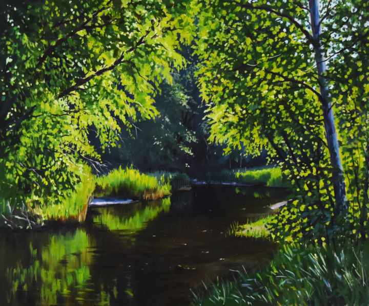 The sunny day in the forest - © 2019 landscape, forest, river, lake, summer Opere d'arte online