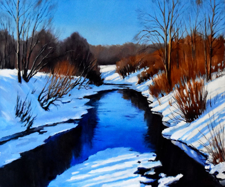 The sunny winter day - © 2020 winter landscape, winter forest with river, frozen river, snow in the forest, sunny winter day, winterscape Opere d'arte online