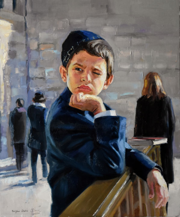 """Painting titled """"A portrait of Jewis…"""" by Serghei Ghetiu, Original Art, Oil Mounted on Stretcher frame"""