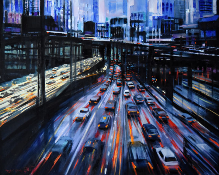 """Painting titled """"The noir city"""" by Serghei Ghetiu, Original Art, Oil Mounted on Stretcher frame"""