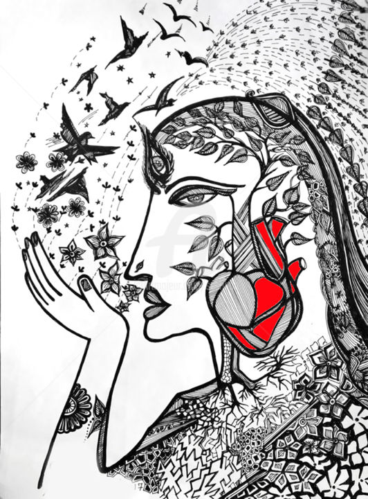 Endless Imagination Of Heart - Drawing,  12x9x0.2 in ©2017 by Seshadri -                                                                                                Abstract Expressionism, Paper, Family, Fantasy, Love / Romance, Women, ink drawings, figurative, woman, fantasy, portrait, drawing, expressionism