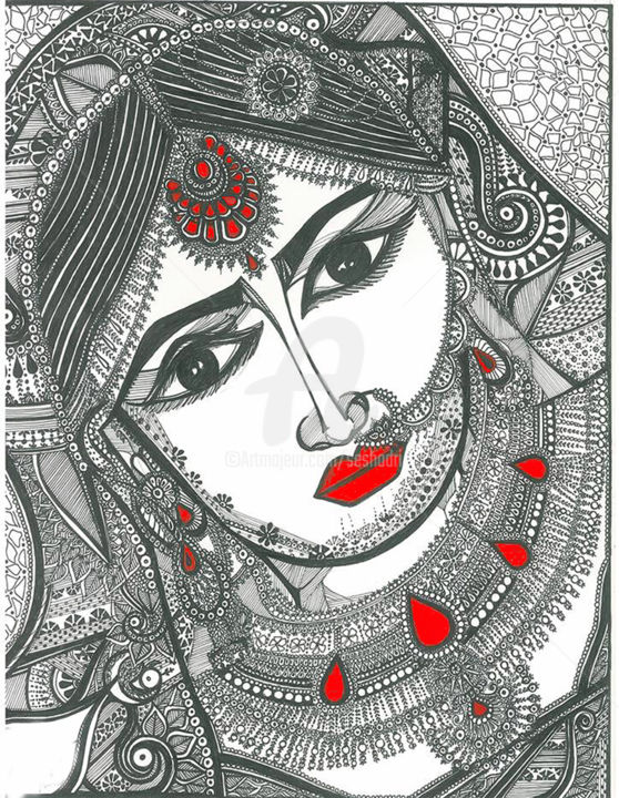 Bride Of India - Drawing,  14x17x0.3 in ©2017 by Seshadri -                                                                                                                        Figurative Art, Paper, Black and White, Family, Fashion, People, Women, World Culture, drawings, ink drawing, paper, portrait, women, traditional