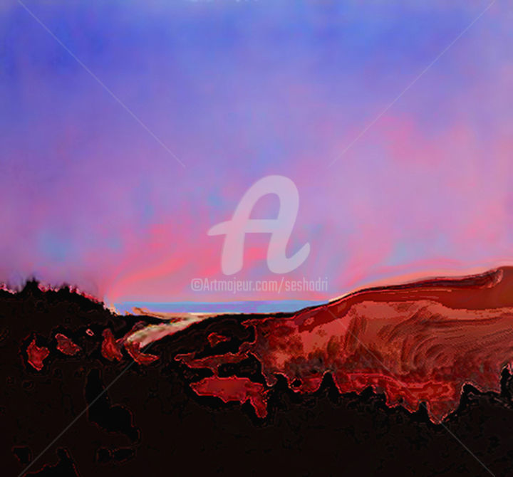 After Sunset. - Digital Arts, ©2018 by Seshadri -                                                                                                                                                                                                                                                                                                                                                                                                                                                                                                                                                                                          Abstract, abstract-570, Landscape, Light, Mountainscape, landscape, art, painting, acrylics, oil, watercolours, modern