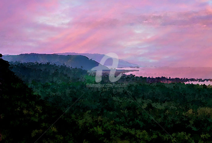 View Over Hills and Forests - Digital Arts, ©2018 by Seshadri -                                                                                                                                                                                                                                                                                                                                                                                                                                                                              Landscape, landscape, modern, contemporary, expressionism, abstract, paper, oil, acrylics, colourist